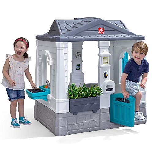 Step2 Neat & Tidy Cottage Homestyle Edition | Modern Kids Playhouse with Interactive Features, White