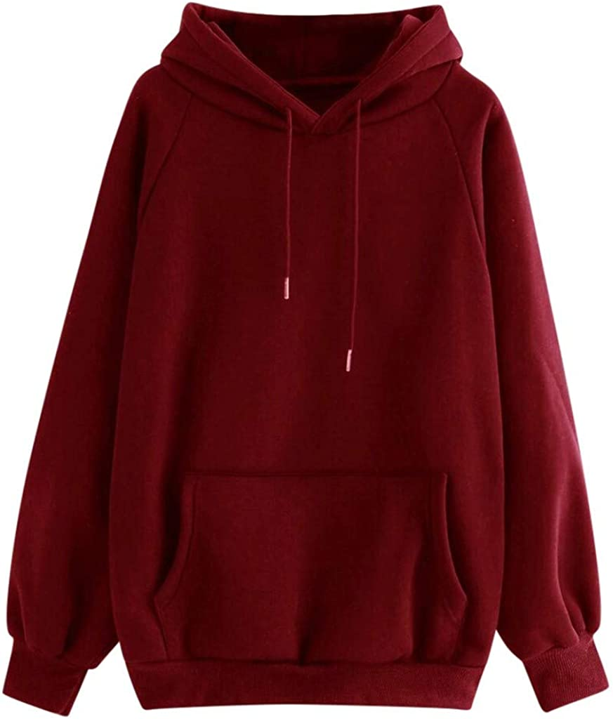 Hoodies for Women Fashion Soft Long Sleeve with Pocket Sweatshirts Casual Loose Pullover Tops
