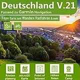 Deutschland V.21 Topo Karte kompatibel mit Garmin Geräten - 16 GB microSD. Topografische GPS...