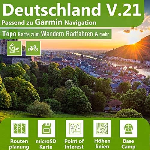 Deutschland V.21 Topo Karte kompatibel mit Garmin Geräten - 16 GB microSD. Topografische GPS Freizeitkarte Fahrrad Wandern Touren Trekking Geocaching Outdoor. Navigationsgeräte & PC