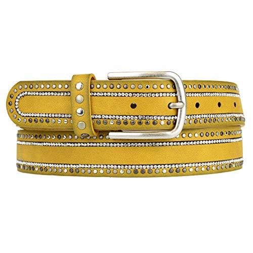 Zakatte • Nietengürtel aus Kunstleder mit Strass bis 105 cm BS032 (Gelb, 105 cm)