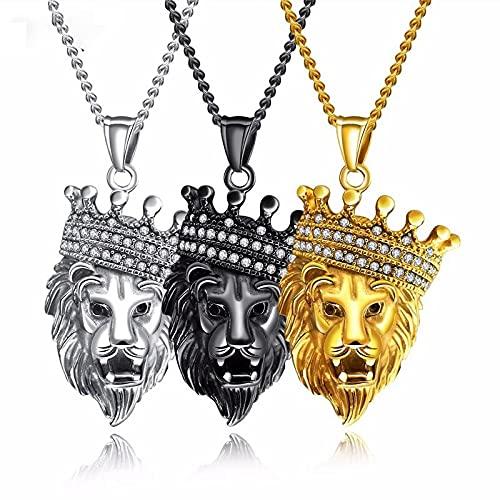 JIUXIAO Joyería deAcero Inoxidable American Hip Hop Collar de Moda para Hombres con circón 62Cm Corona Cabeza de león Colgante de Regalo