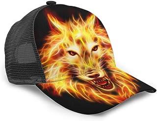 Cabeza de Gorra de béisbol Concepto de Lobo de Fuego Agresivo Malla Ajustable Gorra de béisbol Unisex Sombrero de Camionero Se Adapta a Hombres Mujeres Sombrero