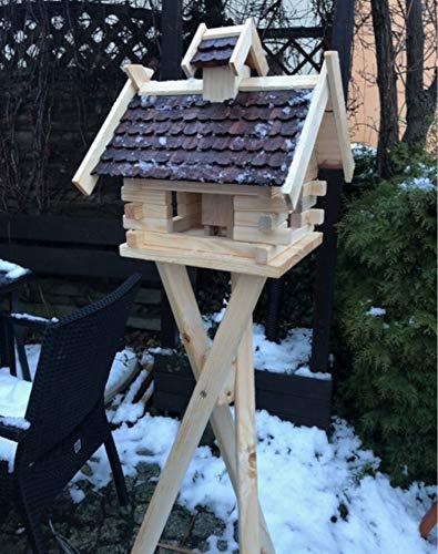 DARLUX Rechteckiges Vogel Futter Haus Futterstelle aus Holz Vogelhaus in Natur mit Braun, Dunkelbraun & Rot (Natur/Dunkelbraun/Größe L mit Ständer)
