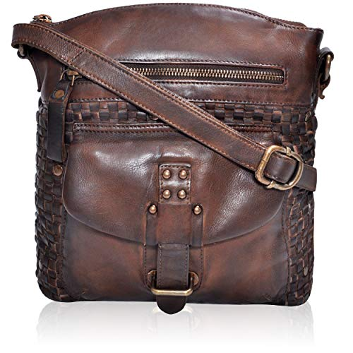 Genuine Leather Crossbody Sling bag for Women Fancy & Stylish Bags for Girls (Brown Wash)