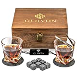 Premium Whiskey Stones Glass Gift Set - 2 Twist Whiskey Glasses, 8 Chilling Whisky Rocks, 2 Slate Coasters, Luxury Wooden Box, Ideal For Scotch, Bourbon Drinks, Great Gift For Men, Dads, Fathers