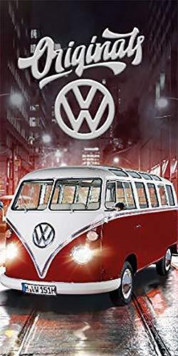 VW Volkswagen Bulli Badetuch Originals Rot 75 cm x 150 cm 100% Baumwolle Veloursqualität VW-Bus Retro Camper Van T1 Car Strandlaken Strandtuch Handtuch Badelaken Duschtuch Saunatuch Badelaken 087-B