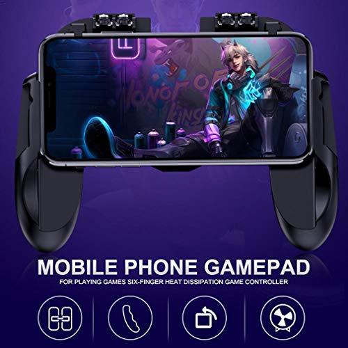GJWHENS Regulador del Juego móvil con Ventilador de refrigeración para PUBG/Fotnite [6 Dedo de operación], Controlador de Disparo Joystick Gamepad móvil para 4,5-6,5