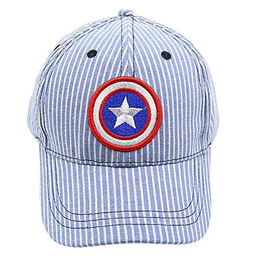 PRETAY Gorra Avengers para Niños Iron Man, Black Panther y Motivo de Capitán América Sombrero de béisbol para niños, niños y niñas (Color : Blue, Size : S(47~53CM))