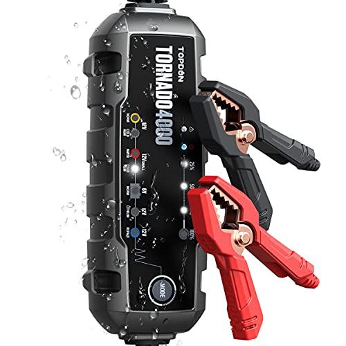 Autobatterie Ladegerät 4A , TOPDON T4000 KFZ Batterieladegerät Auto Vollautomatisches für 6V 12V 20Ah -150Ah Batterien, 10-Stufen-Smart-Ladegerät Wartung, Erhaltungsladegerät für Auto, LKW, Motorrad
