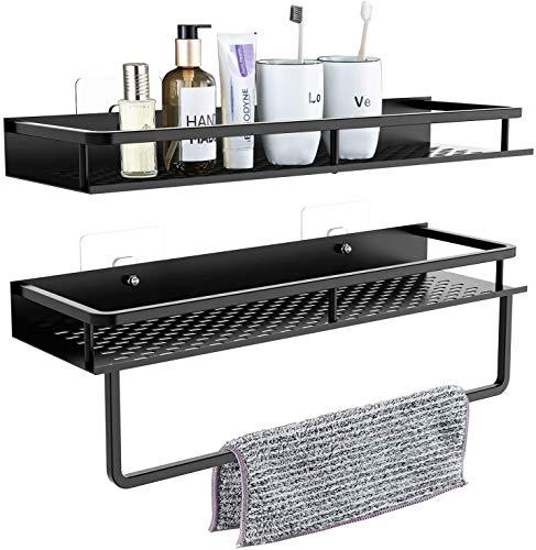 AOSNTEK Estante perforado para toallas (40 x 5 x 11,5 cm), estante + toallero (40 x 5 x 11,5 cm, barra de toalla de 9 cm), estante de almacenamiento para cocina o baño con toallero negro