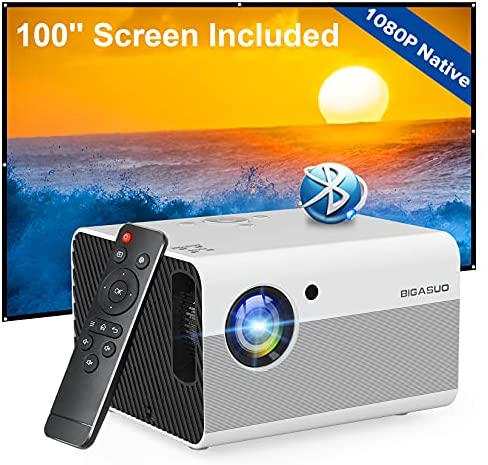 """Native 1080P Projector Bluetooth with Digital Zoom&HiFi Stereo, BIGASUO Outdoor Movie Projector, 7500L Home Portable Projector Compatible HDMI,USB,AV,TV[100""""Screen Included]"""