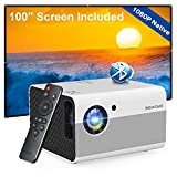 Native 1080P Projector Bluetooth with Digital Zoom&HiFi Stereo, BIGASUO Outdoor Movie Projector, 7500L Home Portable Projector Compatible HDMI,USB,AV,TV[100''Screen Included]