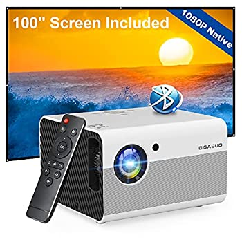 Native 1080P Projector Bluetooth with Digital Zoom&HiFi Stereo BIGASUO Outdoor Movie Projector 7500L Home Portable Projector Compatible HDMI,USB,AV,TV[100  Screen Included]