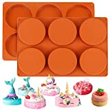 Palksky (2 Pack)6-Cavity Large Round Disc Silicone Mold/English Muffins Pan/Resin Coaster Mold Non-Stick Baking Molds for Hamburger Chocolate Cake Pie Custard Tart Whoopie Pie Egg Pan