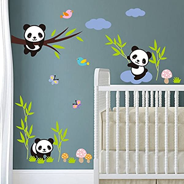BIBITIME Forests Birds Butterfly Panda Family Wall Decor Kids Baby Nursery Bedroom Stickers Mural Decals