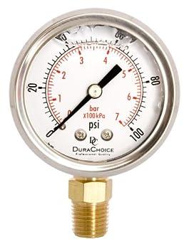 DuraChoice 2  Oil Filled Pressure Gauge - Stainless Steel Case Brass 1/4  NPT Lower Mount Connection 0-100PSI