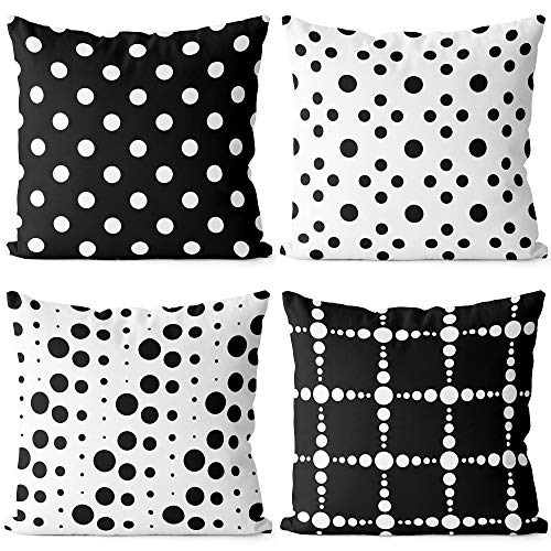 BEDSUM Microfiber Throw Pillow Cover Set of 4, Black and White Dot Geometric Pattern for Living Room Sofa Couch Square Decorative Bed Pillow Case, 18 × 18 Inches