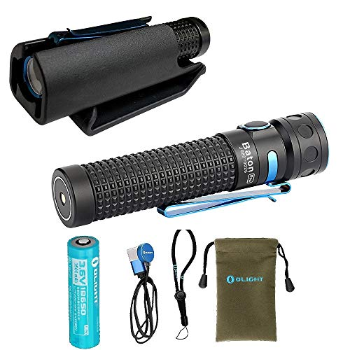 Holster Bundle Olight Baton Pro 2000 Lumens Rechargeable LED Flashlight, Customized 3500mAh 18650 Battery, USB Magnetic Charging Cable (MCC 1A) and Hard-shell Kydex Holster