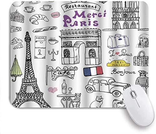 Mobeiti Gaming Mouse Pad, Pariser Kultur im Doodle-Stil Zeichnung Eiffelturm Baskenmütze Croissant Blauschimmelkäse Taxi mehrfarbige rutschfeste Gummi Backing Mousepad für Notebooks Computer Mausmatte