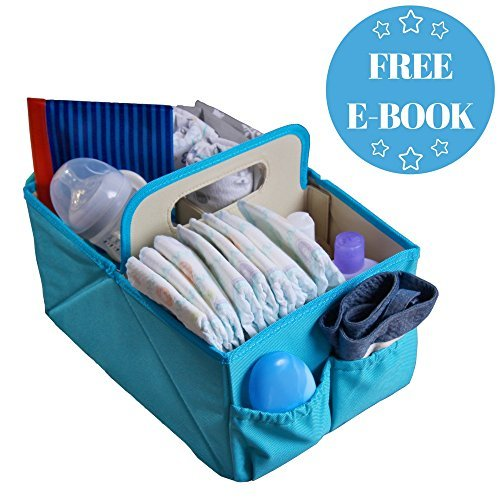 NEW YEAR SALE! Foldable Baby Diaper Blue Caddy Organizer - With FREE E-Book | Baby Shower Gift | Best Portable Stacker & Sturdy Storage Caddie | Cloth Tray for Infant | Stylish Travel Basket