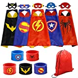Dress up Costume Superhero Capes Set with Drawstring Backpack and Wristbands for Kids, Birthday Party Children (5PCS)