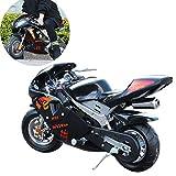 AFF 2 Tiempos 49cc Dos Ruedas pequeña Todoterreno Mini Motocicleta de montaña con Faro ciclomotor de Gasolina para niños Juguete al Aire Libre CS Accesorios de Combate
