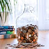 Velucio Glass Money Jar - Holds Over $2,500 in Coins!