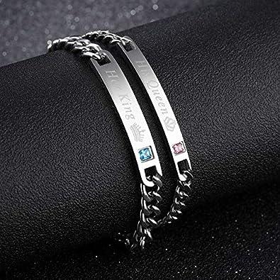 Felice Ann Custom Bracelet Personalized Engraved Bracelet DIY Custom ID Name Date Bracelet Wristband for Men Women Friendship Couple