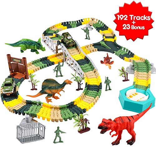 Meland Dinosaur Race Track Car Toy Set - 215 Pcs...