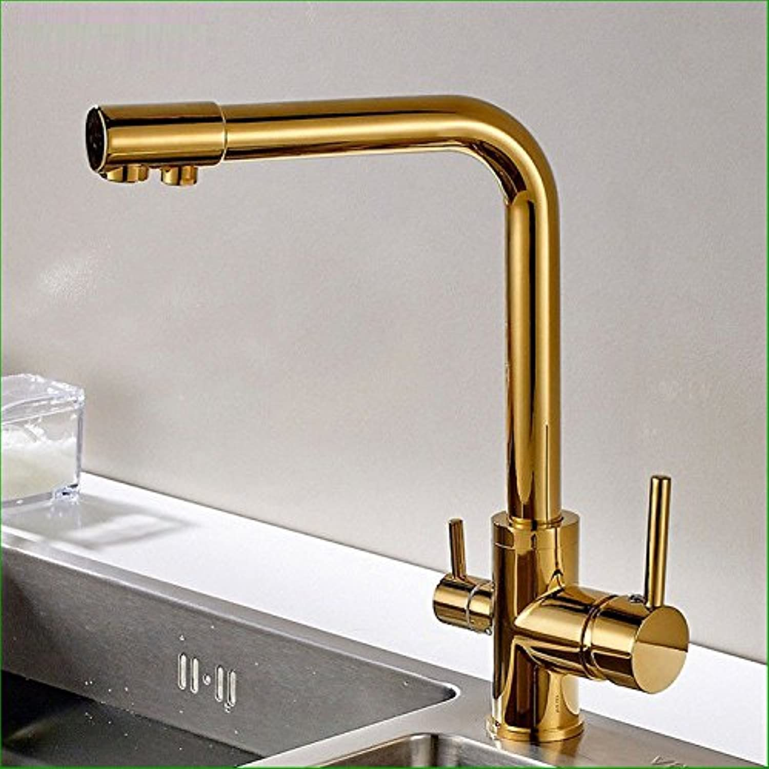 Hlluya Professional Sink Mixer Tap Kitchen Faucet The copper gold plated two with a dual-head kitchen faucet sink kitchen sink, hot and cold water basin mixer