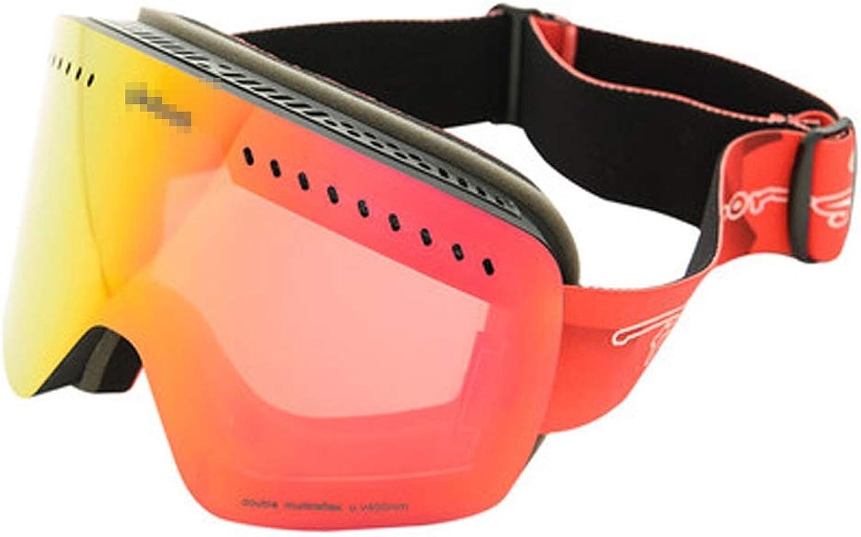 YXLZZO Ski Goggles Outdoor Goggles Large Spherical Goggles Double Anti-fog Can Wear Myopia Ski goggles (color   B)