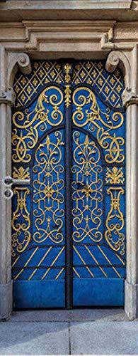 Adhesivo 3D para puerta con diseño de puerta y texto en inglés 'Pvc, impermeable, 77 x 200 cm