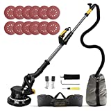 Drywall Sander, Ginour 6A 7 Variable Speed 1000-1800RPM Wall Sander With Vacuum Attachment, LED Light, Extendable Handle, Long Dust Hose, Storage Bag, 12 Sanding Discs