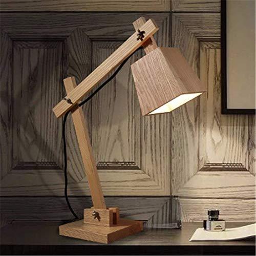 JKUNYU Lámparas de mesa, lámparas de escritorio con estilo minimalista, dormitorio antiguo lámpara de cabecera, plegable de madera Artes Sala de estar Estudio lámpara de escritorio, Led Lámparas de oj