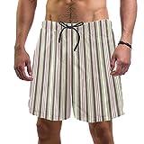 Yuzheng Trajes de baño para Hombres Rayas Verticales Baúl de baño de Vacaciones con Bolsillos para Hombre Regular Extendido