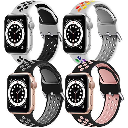 JUVEL Armband Kompatibel mit Apple Watch Armband 44mm 42mm, 4 Pack Weich Atmungsaktives Silikon Ersatz Armbänder Kompatibel für iWatch Series 6/5/4/3/2/1/SE, S/M Weiß/Weiß/Schwarz/Schwarz