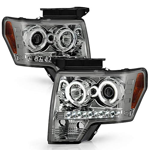ACANII - For 2009-2014 Ford F150 LED Dual Halo Ring Smoked Lens Projector...