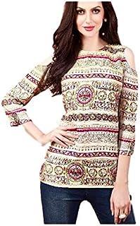 Khwahish - Cream Rayon Cotton Cold Shoulder Printed Top/Tunic/Short Kurti - Bracelet Sleeves (3/4th sleeves).