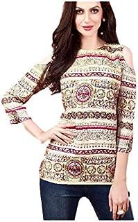 Khwahish - Cream Rayon Cotton Cold Shoulder Printed Top/Tunic/Short Kurti - Bracelet Sleeves (3/4th sleeves)