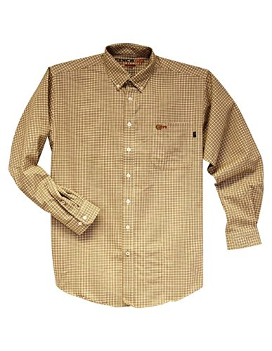 Cinch Men's Flame Resistant Plaid Work Shirt Brown Large