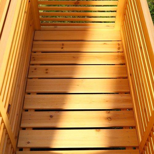 Melko Auflagenbox Kissenbox Gartenbox mit klappbarem Deckel, regenfest, aus Holz, 46 x 140 x 52 cm, Gartentruhe Holztruhe - 5