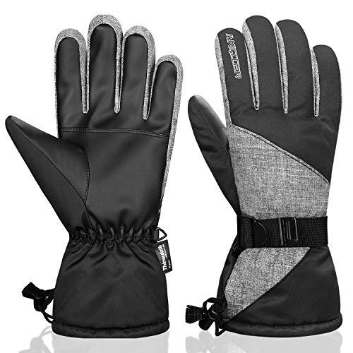 Anqier Winterhandschuhe Herren Damen Wasserdicht Skihandschuhe Fahrradhandschuhe Winter Thermo Thinsulate Schnee Handschuhe für Motorrad Snowboard Radfahren