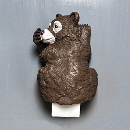 LLDS Faux Bear Wall Mount Resin Bathroom Bedroom Pendant Paper Towel Holder Animal Taxidermy Sculpture (Color : Brown)