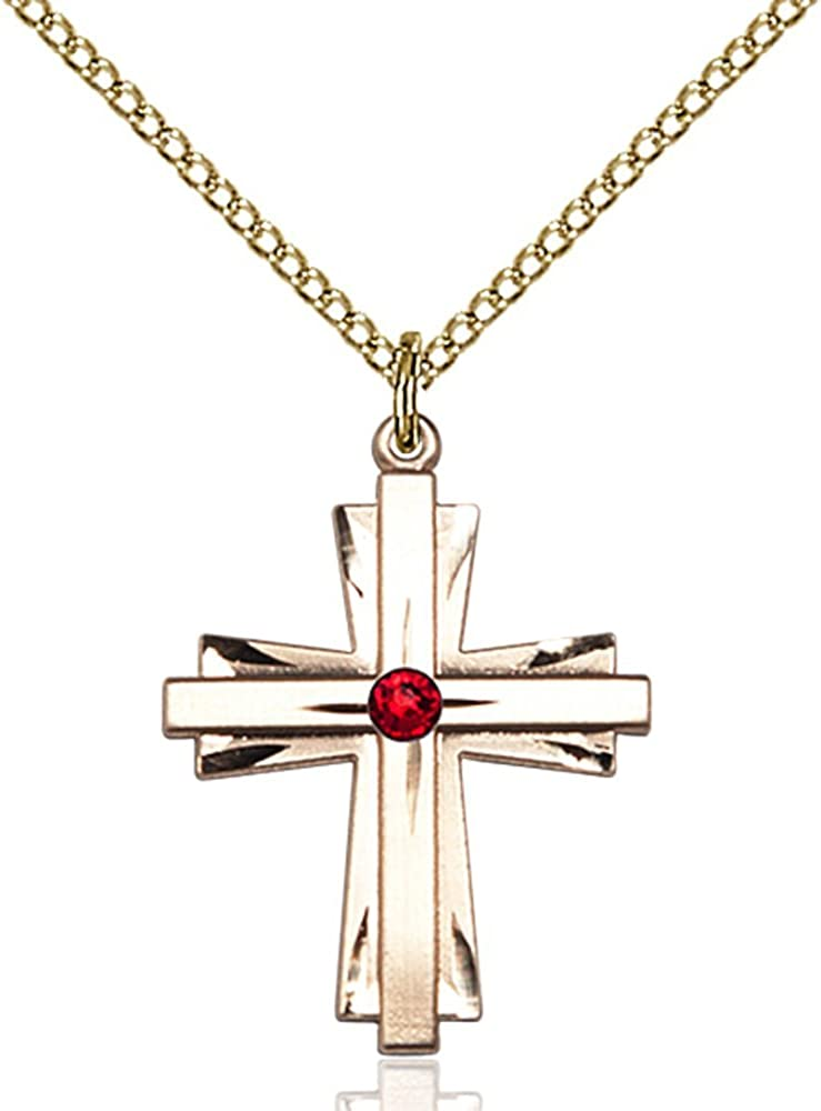 Bonyak Jewelry Gold Filled 2021 Cross Pendant Red Swaro Daily bargain sale with July 3mm