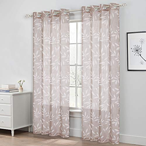 NICETOWN Semi Voile Sheer Pattern Curtains for Living Room 84 inch Length with White Leaves Pattern Causal Style Vertical Drapes for Villa/Cottage, Grommet Top, Taupe, 100' Wide Total 2 Panels