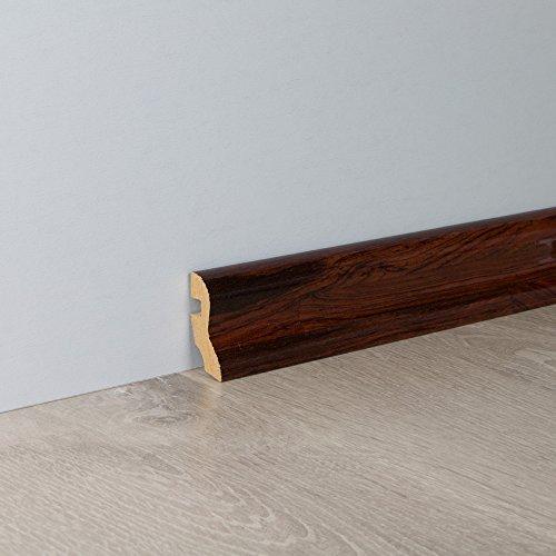 Sockelleiste Fußbodenleiste S-Profil aus MDF in Rio Palisander Superglanz 2600 x 20 x 40 mm