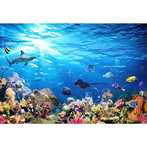 YongFoto 1,5x1m Vinile fondali fotografici Acquario colorato Sfondo sott'acqua Pesci Squalo coralli Sfondo foto Studio fotografico Partito compleanno Fondale foto Accessori