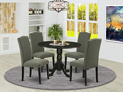 DLEN5-BLK-20 5Pc Round 42' Kitchen Table With Two 9-Inch Drop Leaves And Four Parson Chair With Black Leg And Linen Fabric Dark Gotham Grey