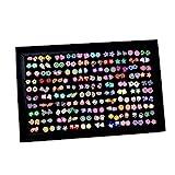 Pendientes para niñas, XiYee 100 Pares Hecho a Mano Hipoalergénico Color mezclado Cerámica suave Animales Pendientes de Botón para Mujeres